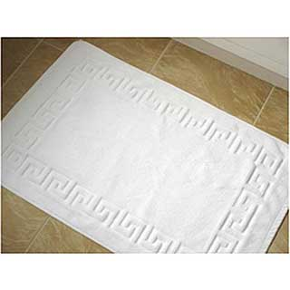 Hotel Towelling Bath Mat - Greek Key Design Border - High Quality - 800gm - White