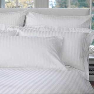 Hotel Pillow Cases - 1.5cm Satin Stripe - 100% Cotton - 200tc - Oxford Style - Pair - White