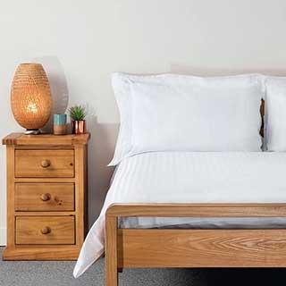 Hotel Duvet Covers - 1.5cm Satin Stripe - Polyester / Cotton - 240tc - Open End - White