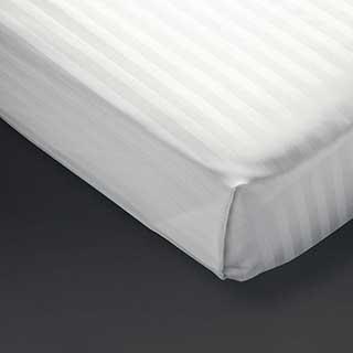 Hotel Flat Sheet- 1.5cm Satin Stripe - Polyester / Cotton - 240tc - White