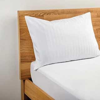 Hotel Pillow Cases - 1.5cm Satin Stripe - Polyester / Cotton - 240tc - Housewife Style - Pair -white