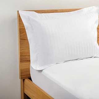 Hotel Pillow Cases - 1.5cm Satin Stripe - Polyester / Cotton - 240tc - Oxford Style - Pair - White