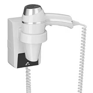 Bathroom Hairdryer - 1400 Watt - Gun Grip Style - Wall Mountable - White