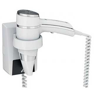 Bathroom Hairdryer - 1600 Watt - Gun Grip Style - Wall Mountable - White