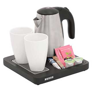 Hotel Hospitality Welcome Tray With Kettle - Corby Aintree Compact - 0.6l Kettle - Black - Case Of 6