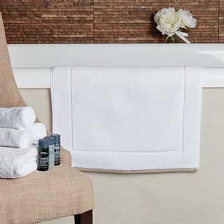Hotel Bath Mat - Ambassador Design- 1000gsm - 50x80cm - White With Taupe Border
