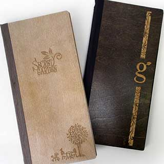 Apollo Wooden Menu Covers - Tag Fixing - Slim Size W140 X H297mm