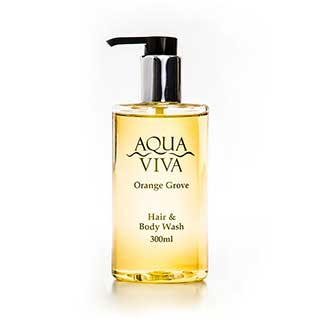Aqua Viva Range Hotel Toiletries - 300ml Pump Bottle Hair & Body Wash