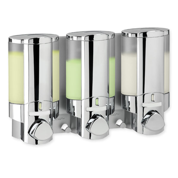 Hotel toiletries soap dispenser aviva 3 wall mounted chrome clear - Wall mounted shampoo and conditioner dispenser ...