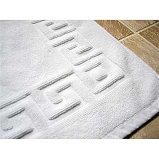 Bath Mat - Luxury Towelling - Greek Key Design - 1000g - 50x75cm -  White