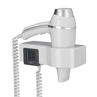 Bathroom Hairdryer - 1876w - Gun Grip Style - Wall Mountable - White