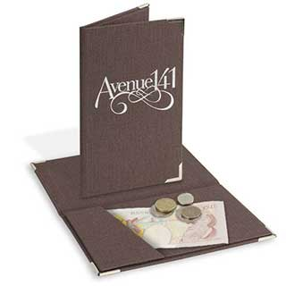 Bill Presenter - Wood Effect Fabric - 125x200mm - Interior Pocket Design