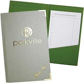Bill Presenters - Textured Buckram Fabric - Slim - W125m X H200mm - Internal Pocket Design
