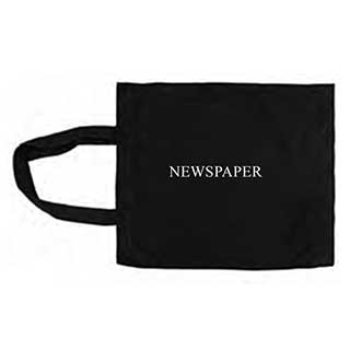 Newspaper Bag - 100% Cotton - Reusable - Washable - 33x40cm - Black - Case Of 10