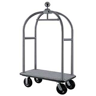 Luggage Trolley - Bolero Luggage Cart - Carpeted Base - 1910(h)x1120(w)x610(d)mm - Stainless Steel