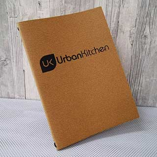 Buffalo Eco Menu Cover - Recycled Quality Leather - Tag Fixing - A4 Size - Natural