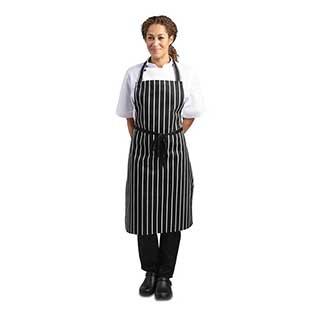 Hotel Aprons - Butchers/chefs Bib Style Apron - 970(l) X 710(w)mm - Black And White Striped