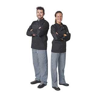 Hotel Chefs Wear - Unisex Whites Vegas Double Breasted Chefs Jacket - Long Sleeve - Black