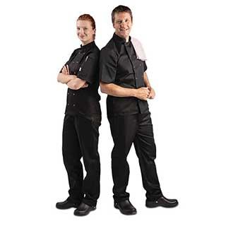 Hotel Chefs Wear - Unisex Whites Vegas Double Breasted Chefs Jacket - Short Sleeve - Black