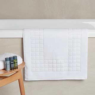 Hotel Bath Mat - Luxury Chequerboard Border Design - 100% Cotton - 1000gsm - 50x80cm - White
