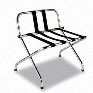 Hotel Luggage Rack - Folding - Rear Bar - Black Webbing - Chrome