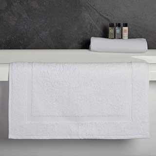 Hotel Bath Mat - Classic Border Design - 100% Cotton - 650gsm - 50x76cm - White