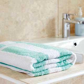 Striped Leisure / Spa Towel - 100% Cotton - 420gsm -  150x90cm - Mint