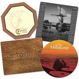 Custom Melamine Hotel Table Mats and Coasters