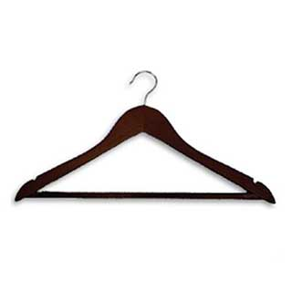 Hotel Wooden Hooked Coat Hanger - Chrome Standard Hook - 50 Per Case - Dark Wood