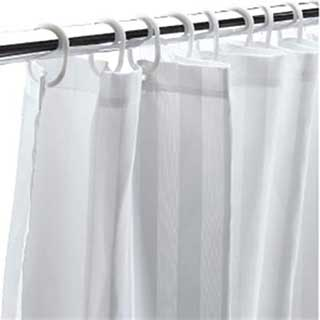 Hotel Shower Curtains - Double Layer Shower Curtain - 100% Polyester - Satin Stripe/plain - White
