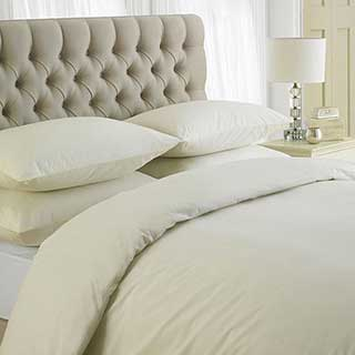 Hotel Duvet Cover Set - 200tc Luxury 100% Egypian Cotton Percale - Ivory