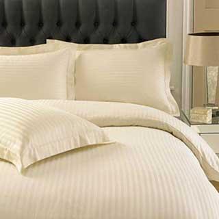 Hotel Duvet Cover - 1cm Satin Stripe - 100% Cotton - 250 Tc - Envelope End -  Ivory