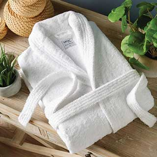 Hotel Bathrobes - Eco Bathrobe - 100% Organic Cotton - 400gsm - Shawl Collar - Large Size - White