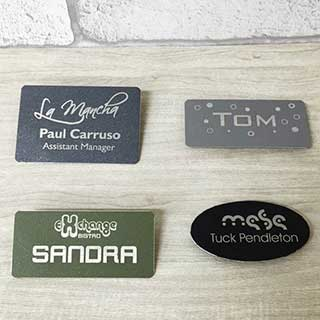 Tarsus  Engraved Metal Name Badges - Powder Coated Metal