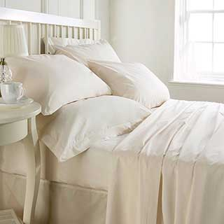 Hotel Fitted Sheet - 200tc Luxury 100% Egyptian Cotton Percale - 40cm Deep Box - Ivory