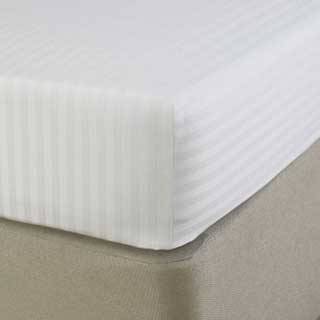 Hotel Fitted Sheet - 1cm Satin Stripe - 100% Cotton - 250 Tc - 30cm Skirt - White