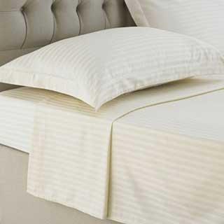 Hotel Flat Sheet - 1cm Satin Stripe - 100% Cotton - 250tc - Ivory