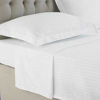 Hotel Flat Sheet - 1cm Satin Stripe - 100% Cotton - 250tc - White
