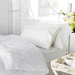 Hotel Flat Sheets - 50/50% Polyester Cotton - 144tc - White