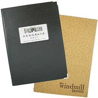 Guest Room Folders - Textured Faux Leather - Tag Fixing - A4 Size