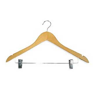 Hotel Wooden Hooked Coat Hanger - Standard Hook & Metal Bar & Skirt Clips - 50 Per Case - Light Wood