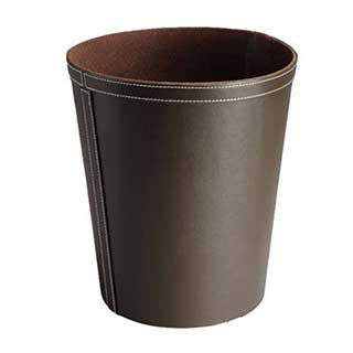 Hotel Bedroom Waste Bin - Luxury Faux Leather - Round - 9 Litre - Dark Brown