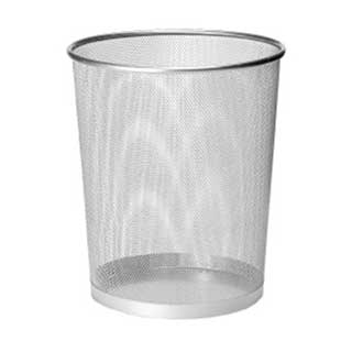 Hotel Waste Bins - Hotel Metal Mesh Bedroom Waste Bin - 9 Litre - Silver