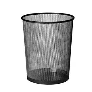 Hotel Waste Bins - Hotel Metal Mesh Bedroom Waste Bin - 9 Litre - Black