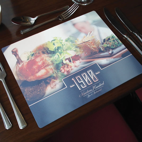 Tarsus metal printed hotel table mats and coasters for Table mats design your own