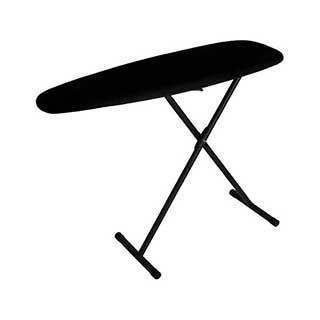Hotel Ironing Board - Premier Lightweight Board - 7 Heights - Black Legs / Black Cotton Cover