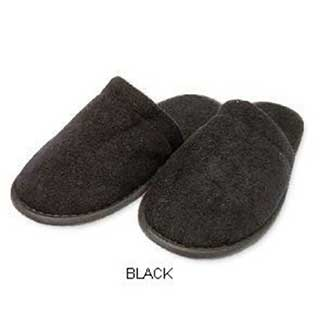 Hotel Towelling Slippers - Closed Toe - Dotted Sole - 28cm - 100 Pairs - Black