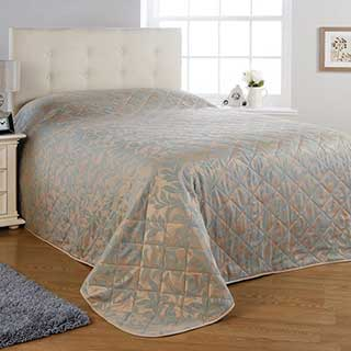 Kensington Quilted Bedspread - Polyester / Cotton - Duck Egg