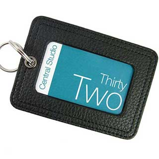 Key Tag - Textured Faux Leather With Printed Metal Plate - Black Faux Leather