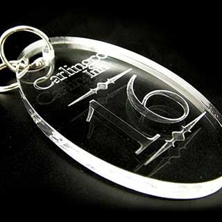 Key Tags - Clear Acrylic Engraved - Oval